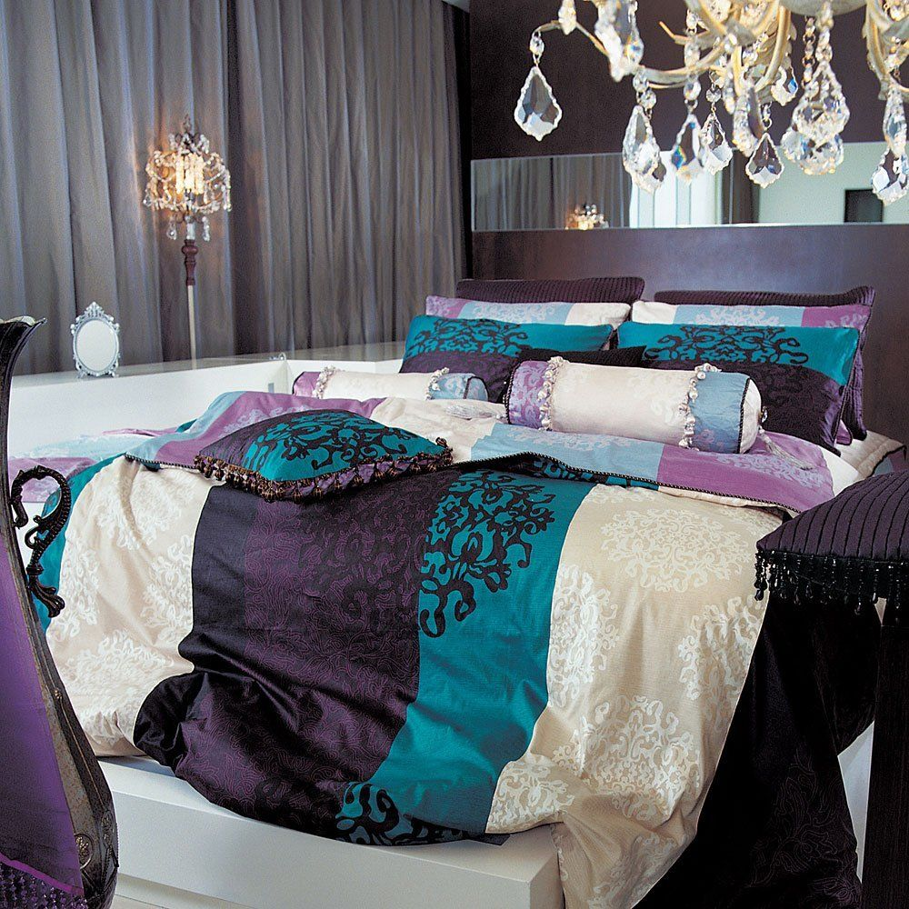 Black damask turquoise purple duvet set king new Purple and gold bedrooms