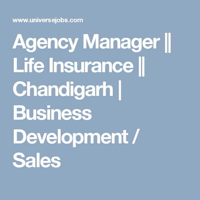 Agency Manager Life Insurance Chandigarh Business