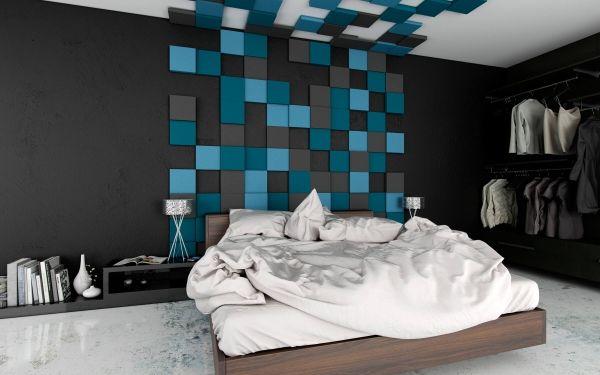 3d Wandpaneel Pixel Als Bett Kopfteil Und Wanddekoration Im