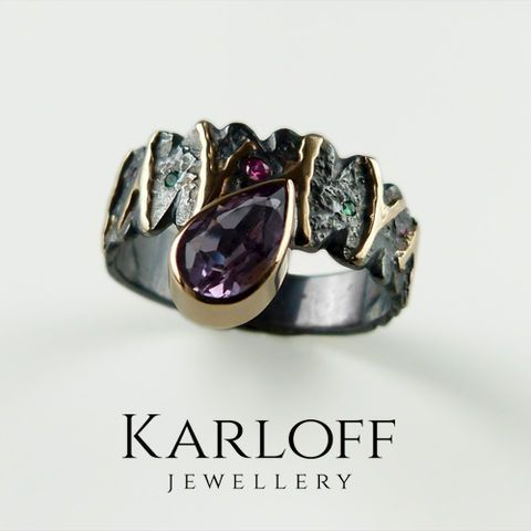 120S,-,silver,and,golden,ring,with,gemstones,Sterling Silver Ring with Amethyst, Golden Ring with Ruby, Emerald ring, Unique Jewellery, Handmade Jewellery, KARLOFF-JEWELLERY