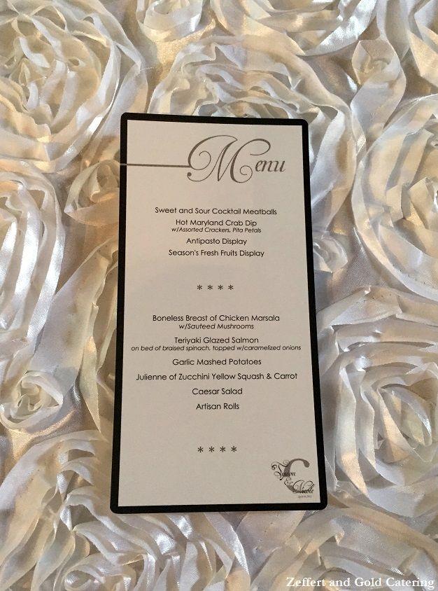 Wedding Menu Baltimore Catering Zeffert Gold And