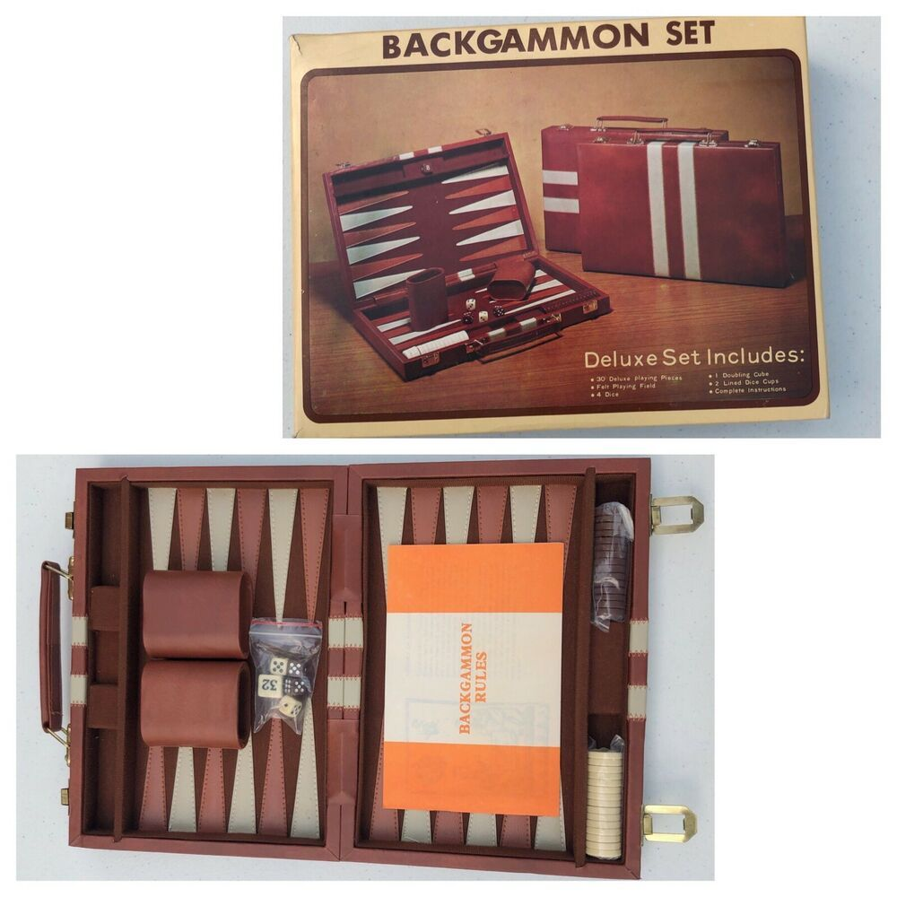 Vintage Backgammon Game W/ Travel Case / Faux Brown