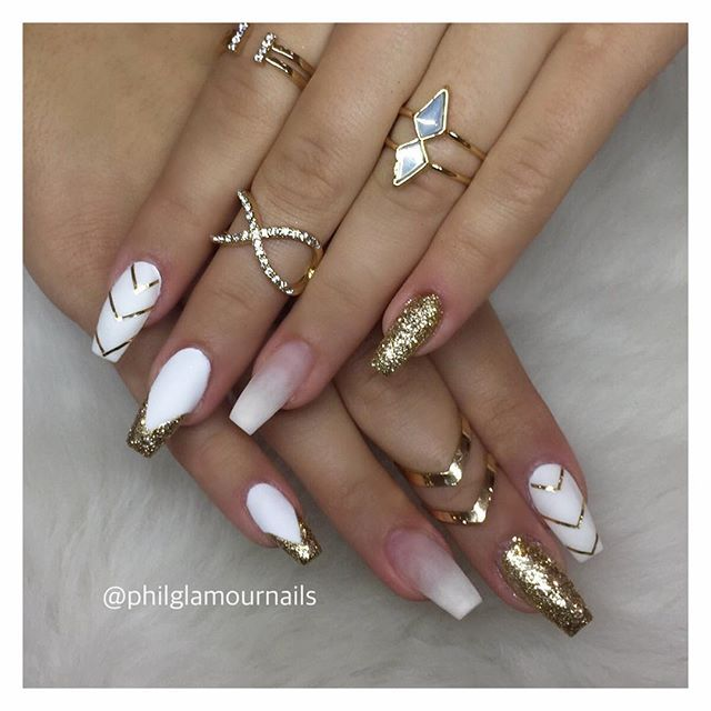 Pin by shaquane tindal on she naild it luv that color white and gold are the best love this nails on her vegas nails prinsesfo Choice Image