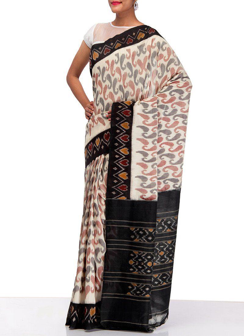 Images of saree off white handloom ikkat cotton saree  inviting ikkat sarees