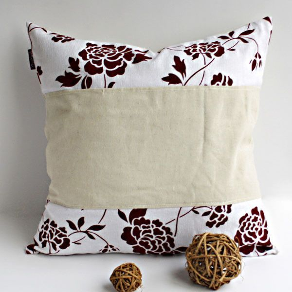 Onitiva - [Floral Ocean] Linen Stylish Patch Work Pillow Cushion ...