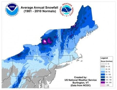 New Northeast Snowfall Map Shows Tug Hill Is A Bull S Eye Each Winter Map Meteorology Winter Weather Forecast