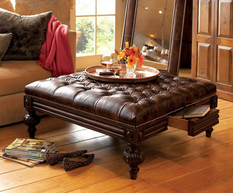 Antique tufted leather Ottoman coffee table with drawer | living ...