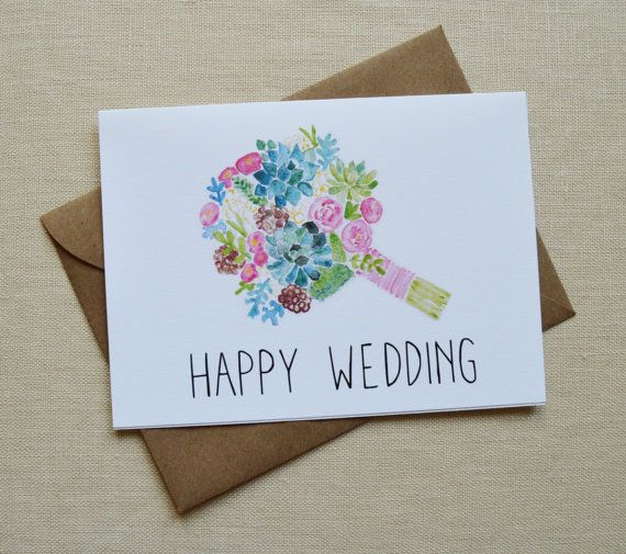 Wedding Card Watercolor Bouquet Card Happy Wedding Card