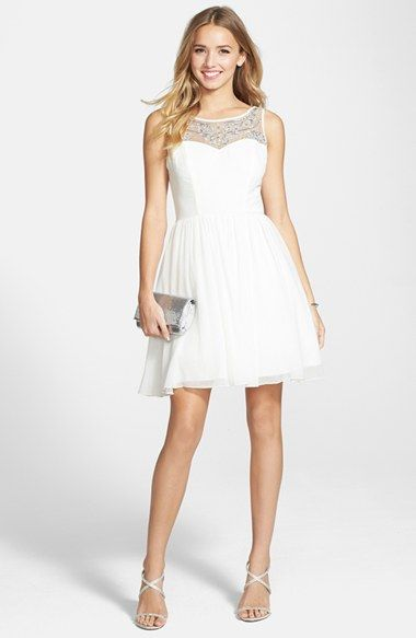 Way In Adele Embellished Illusion Yoke Skater Dress