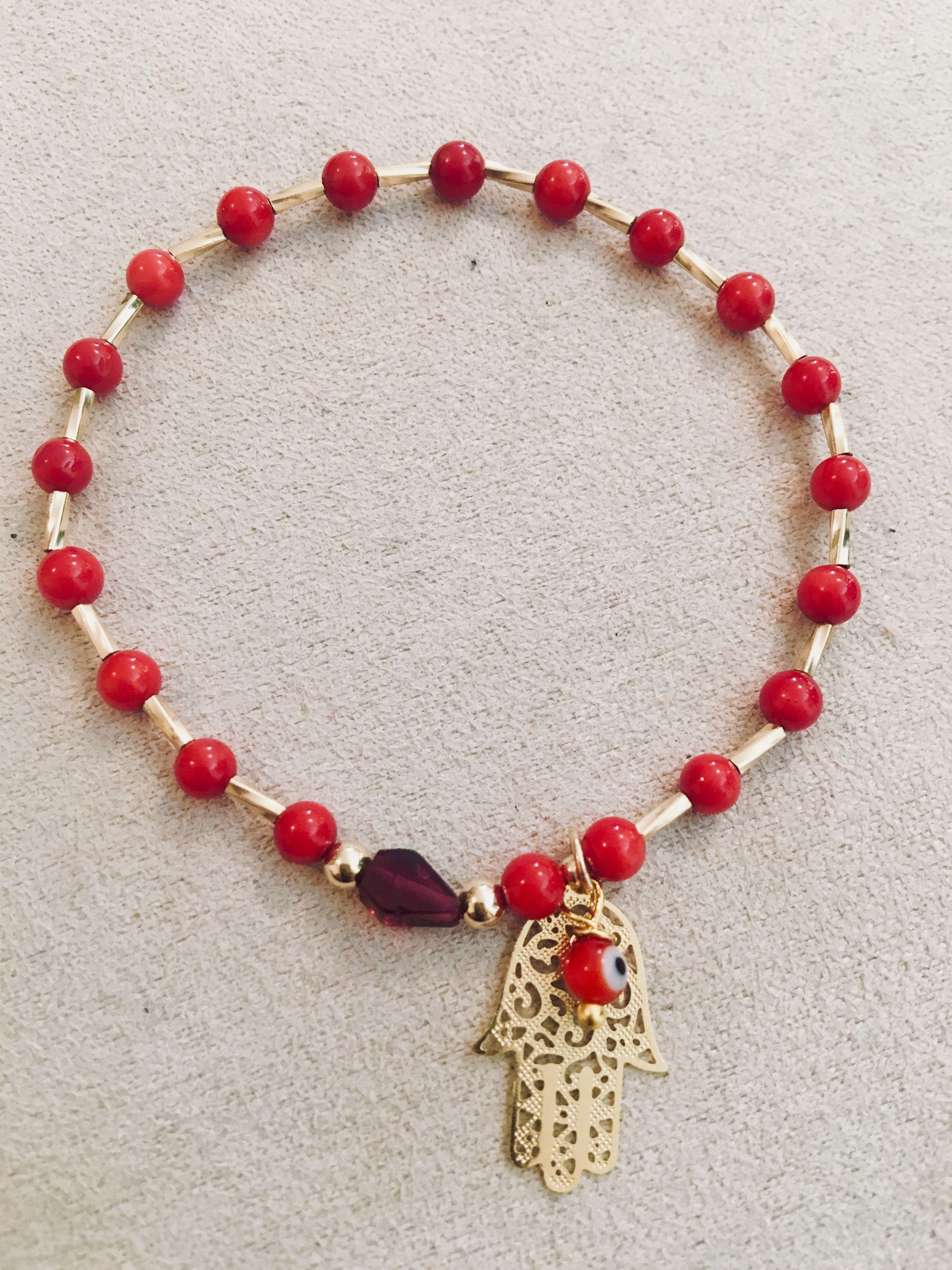 36382ac3a033 Pulsera de Coral con Tubo Oro Laminado