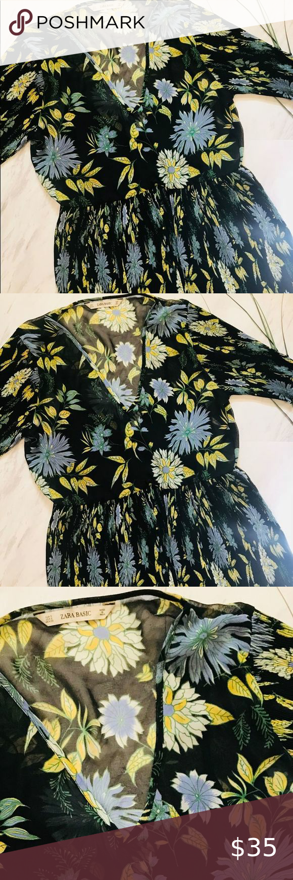 Zara Basic Floral Dress Description Beautiful Black Floral Dress With Touches Of Blue Green And Yellow Fl Long Sleeve Mini Dress Zara Basic Mini Slip Dress [ 1740 x 580 Pixel ]