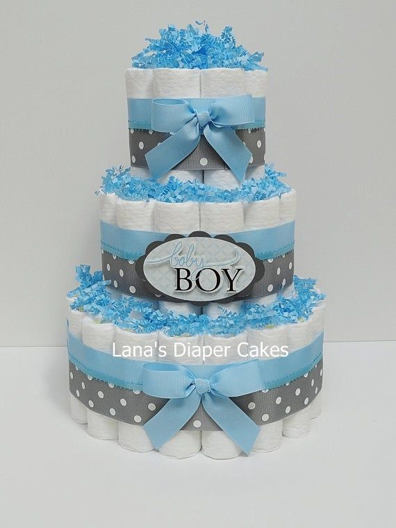 3 Tier Baby Boy Blue And Gray Diaper Cake, Boy Baby Shower ...