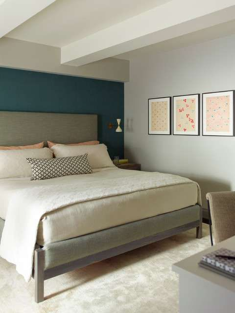 per arredare la camera da letto con il verde petrolio - parete ... - Pareti Colorate Camera Da Letto