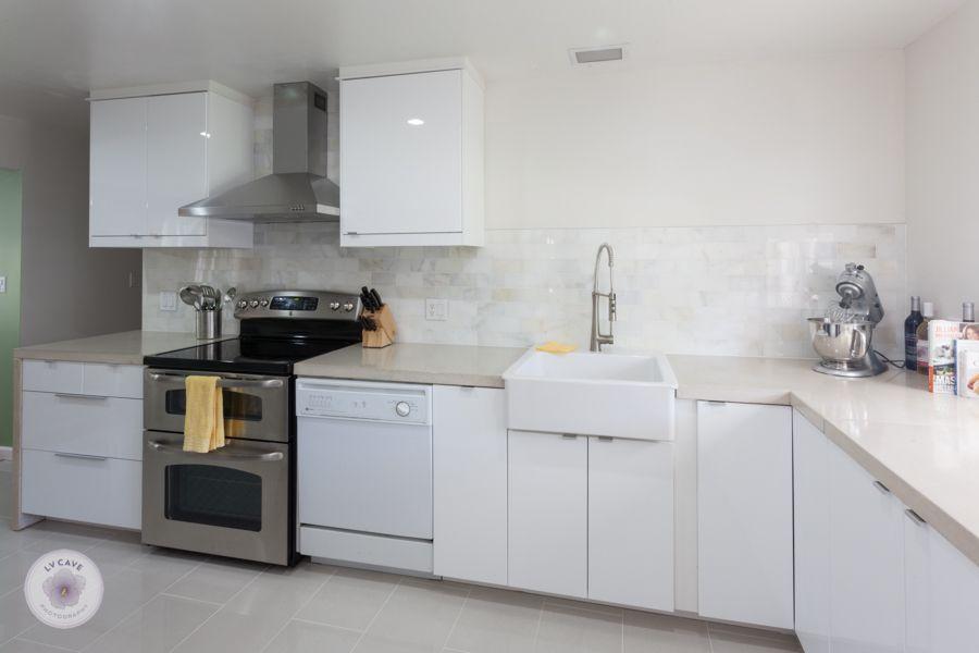 Marvelous Ikea Abstrakt White Kitchen With DIY Concrete Countertops And White Marble  Backsplash