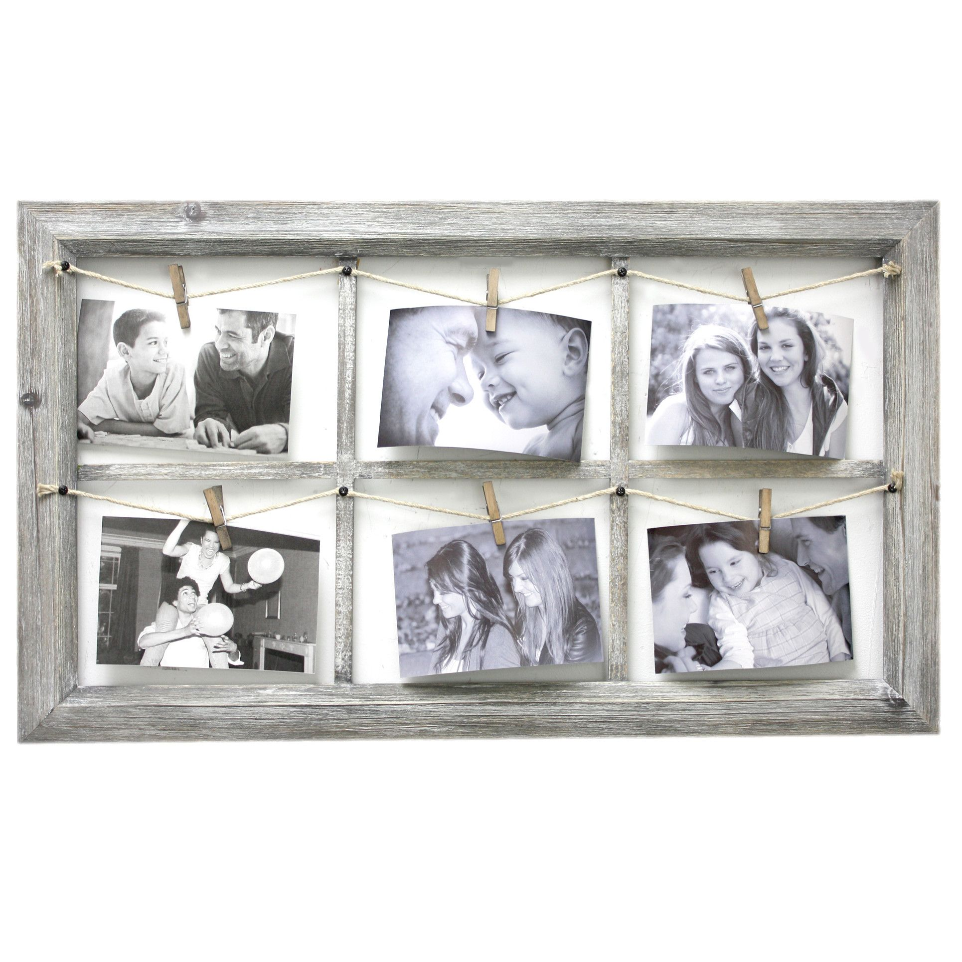 August Grove Wooden Wall Collage with Rope Picture Frame | Family ...