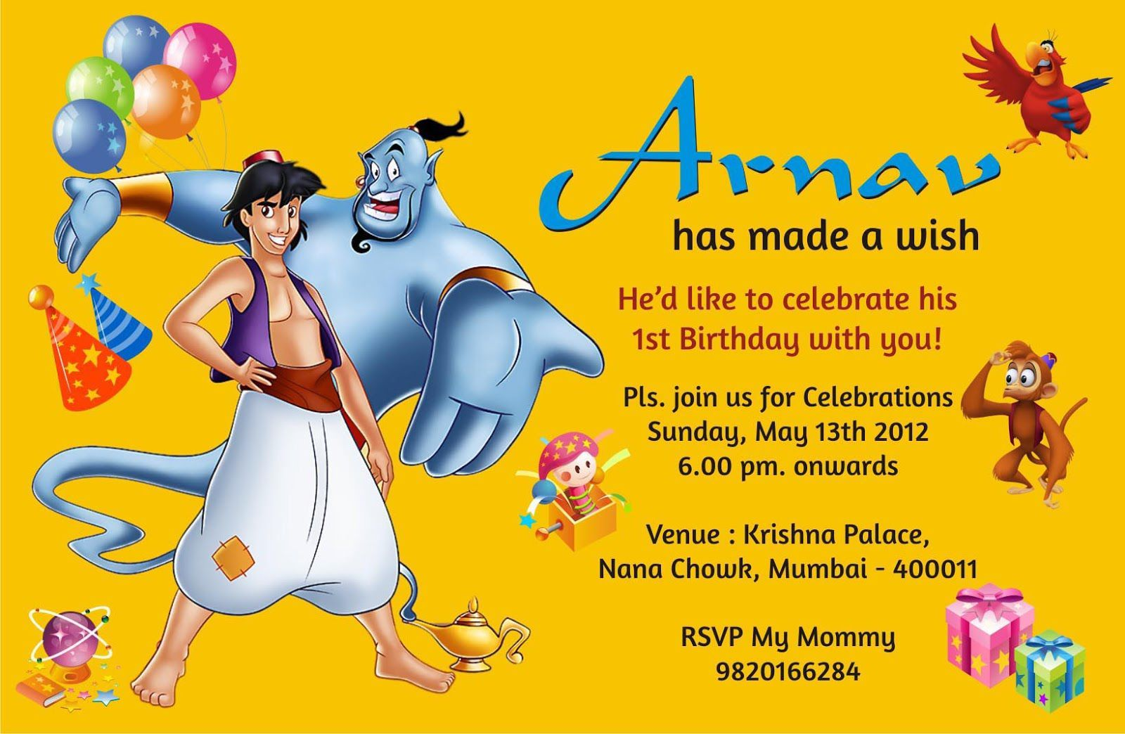 Birthday Invitation Card Dengan Gambar
