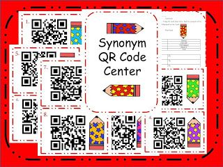 Freebie- Synonym QR Code Center Task Cards ***** TGIF- Third Grade Is Fun*****: Monday Made It=) and a Freebie
