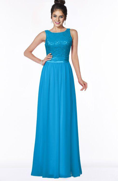 b8e388d1bc6 ColsBM Juliet Cornflower Blue Elegant A-line Chiffon Floor Length Lace Bridesmaid  Dresses