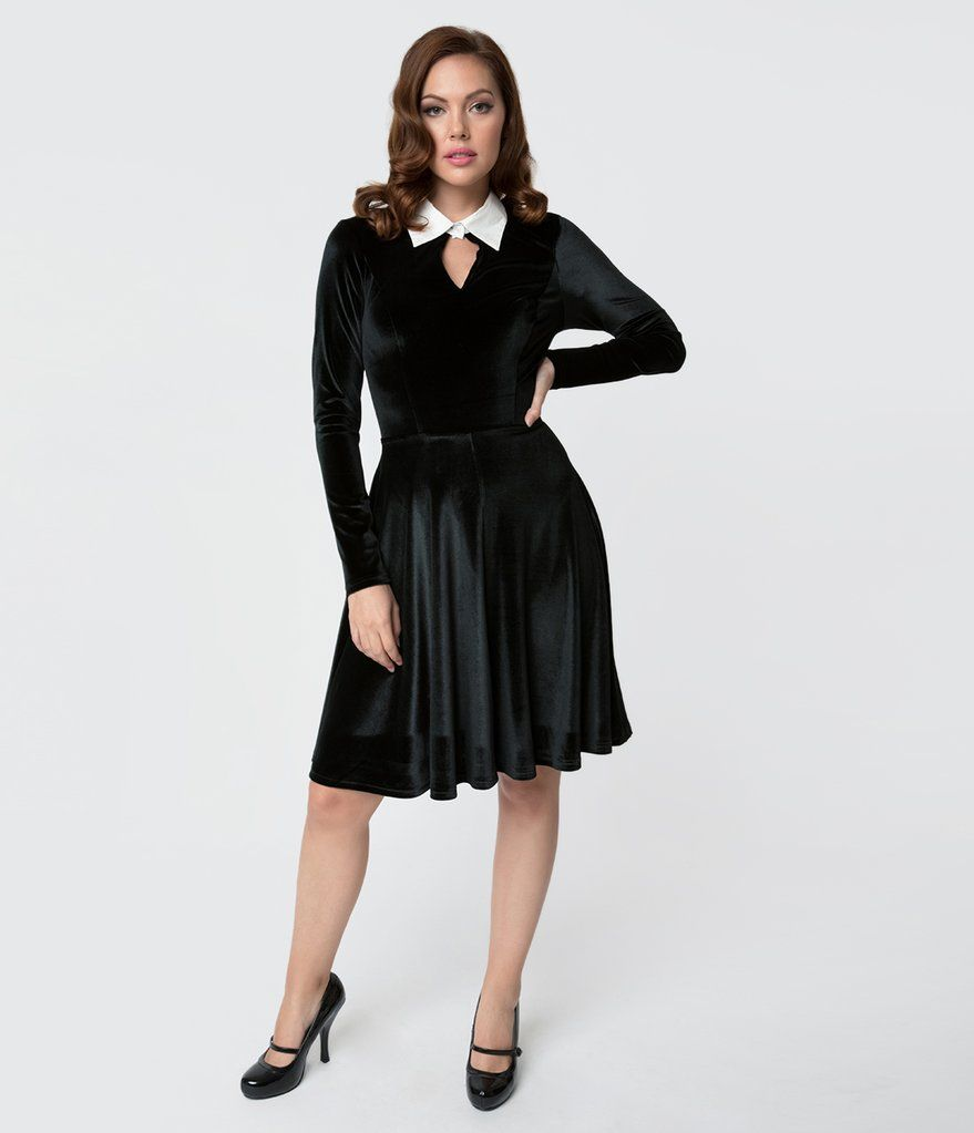 Black velvet long sleeved wednesday flare dress clothing