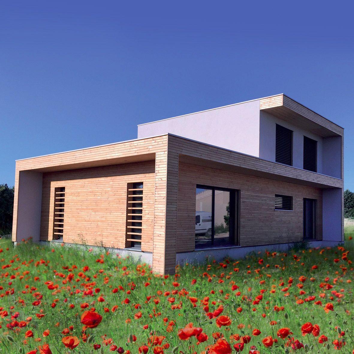 Rielcy maison ossature bois bioclimatique par nature et bois construction wood on house - Maison nature et bois ...