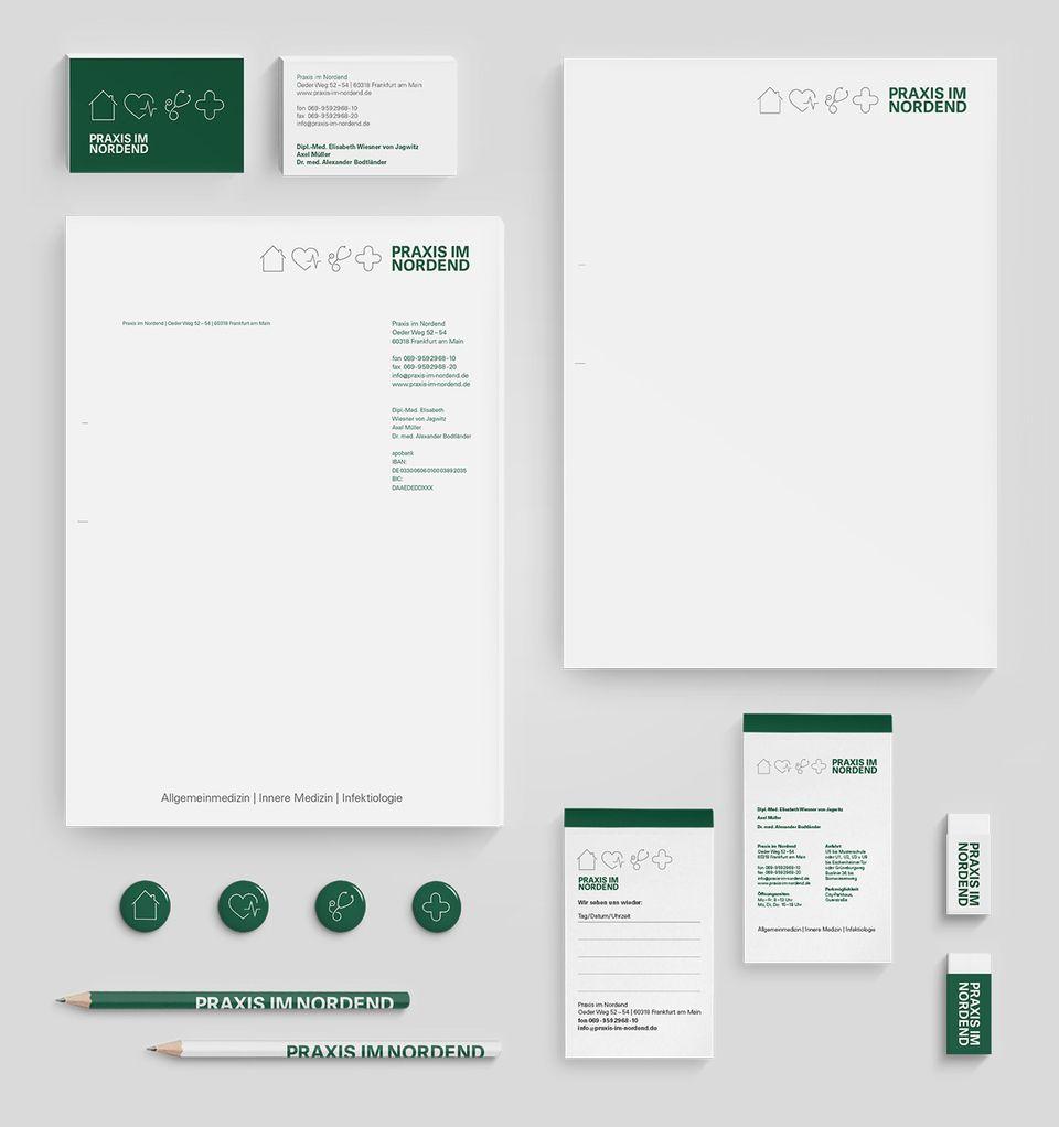 praxis im nordend corporate design corporate design pinterest briefbogen briefpapier. Black Bedroom Furniture Sets. Home Design Ideas