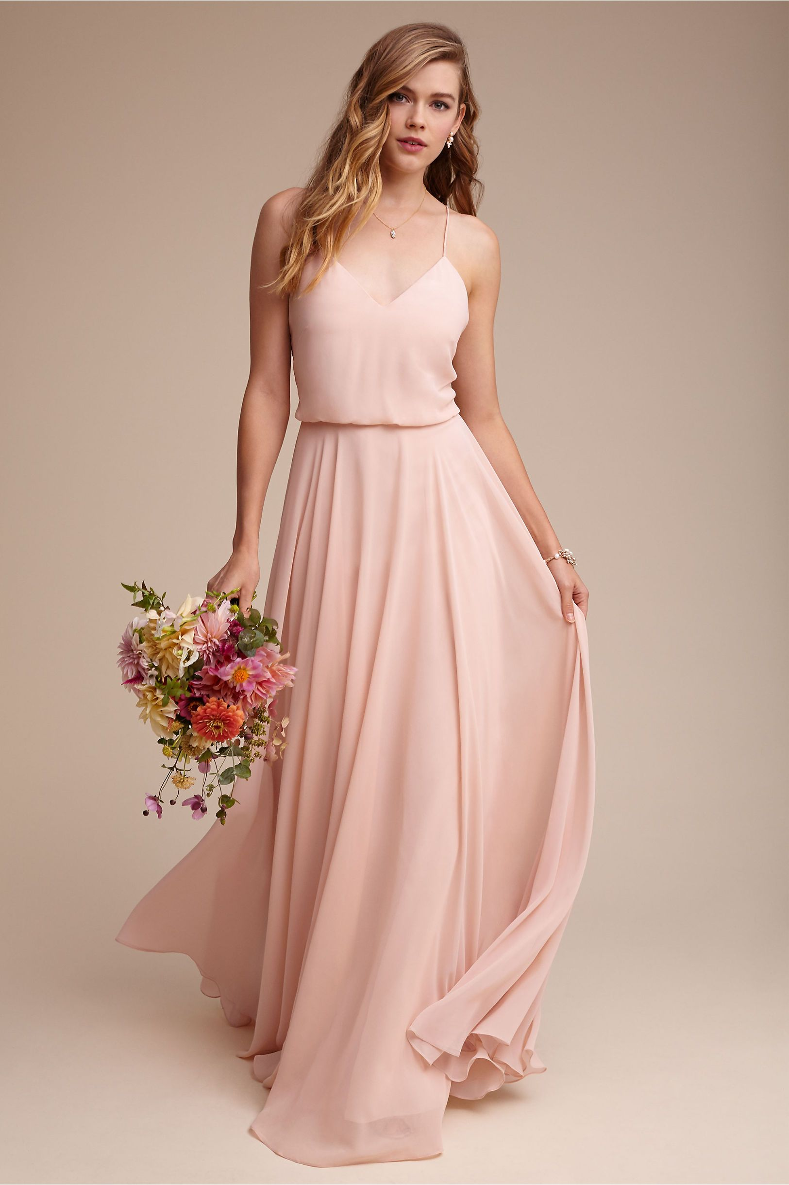 Bhldn inesse dress morning mist in bridal party bhldn pink