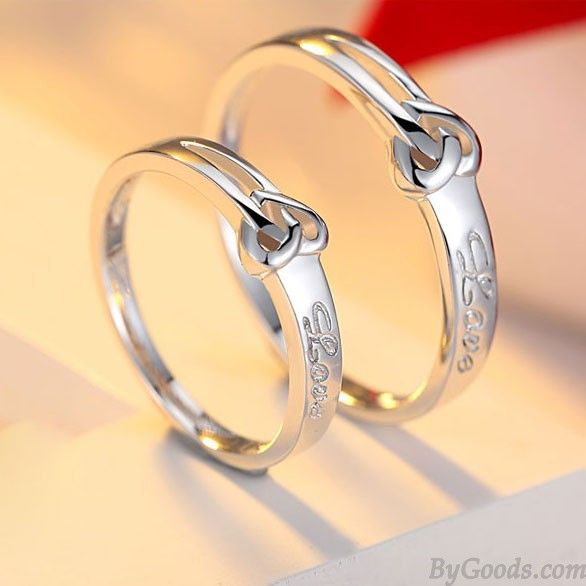 Sweet Heart Shaped Knot 925 Silver Lettering Couple Rings Only 21 99 Bygoods Com Couple Wedding Rings Rings For Girls Engagement Rings Couple