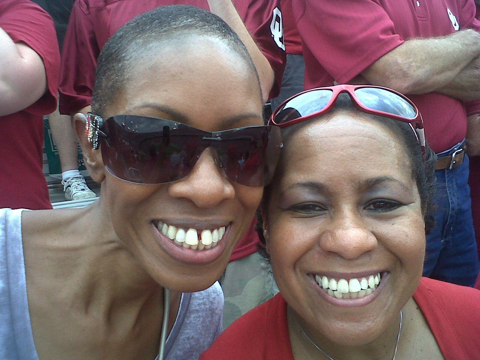 My sister Joy and me at OU-Texas Oct. 2011