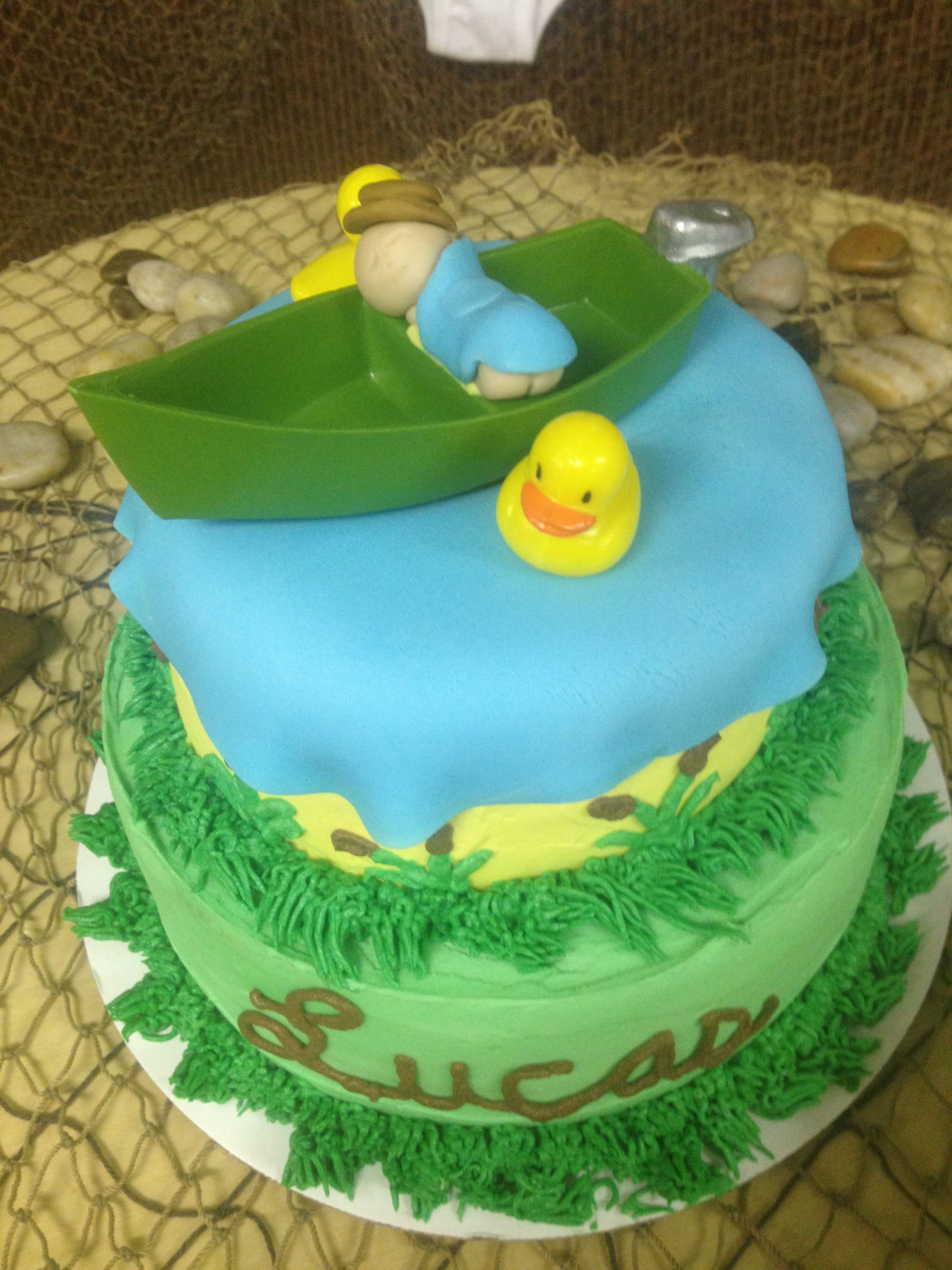 Fishing theme baby shower cake parties showers and for Fishing baby shower