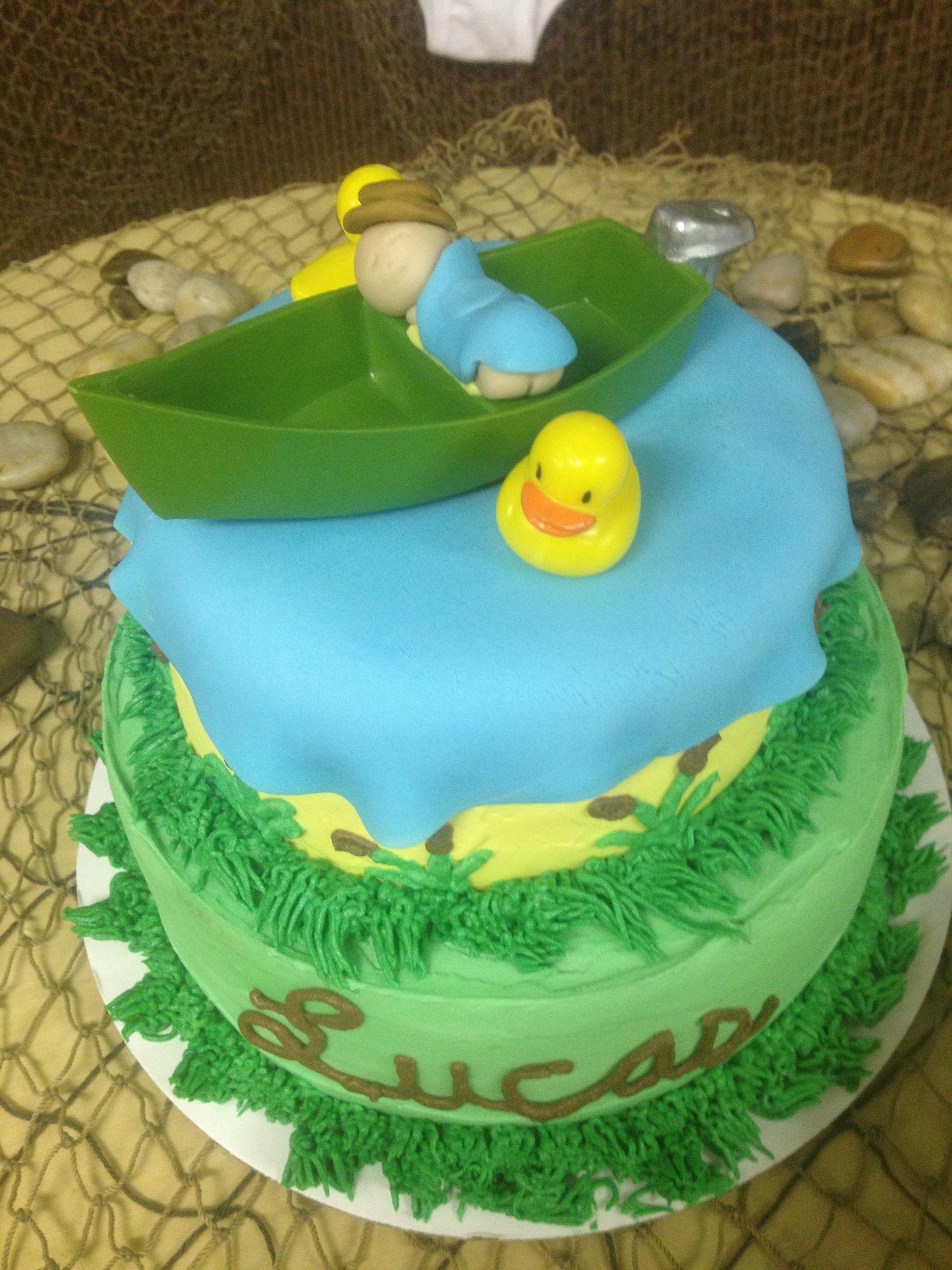 Fishing theme baby shower cake parties showers and for Fishing themed baby shower