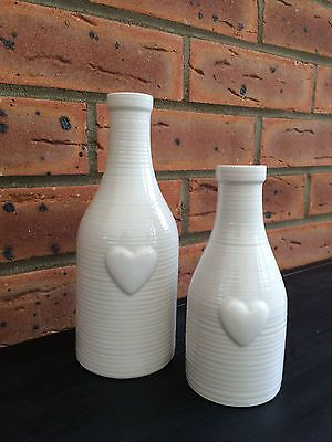 Ivory Ceramic Bottle Flower Bud Vase Heart Detail Vintage Style Wedding Table