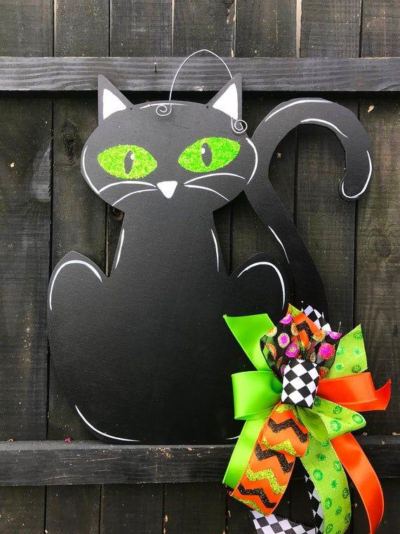 The Black Cat Halloween Door Hanger Halloween Door Hangers Halloween Door Halloween Door Decorations
