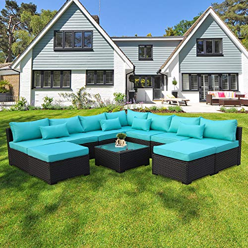Rattaner 10 Piece Patio Sectional Furniture Set Outdoor PE ...