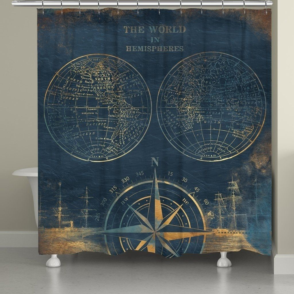 Laural Home Golden Hemispheres Shower Curtain Blue Nautical