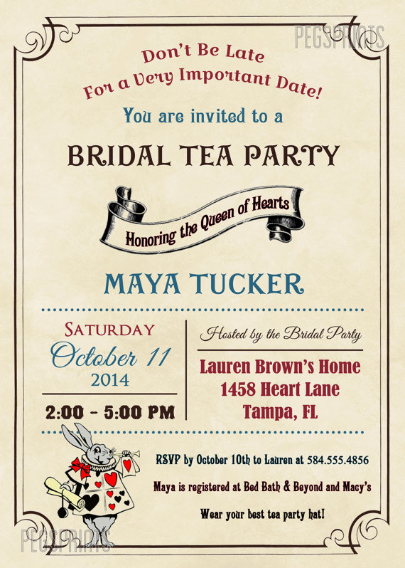 Vintage Mad Hatter Bridal Shower Invitation Printable Queen Of Hearts Invitations T
