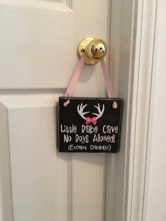 Photo of Adorable Rustic Little Babe Cave No Boys Allowed (Except Daddy!) With Antlers and Bow Wooden Door Sign for Little Girls Room / Nursery