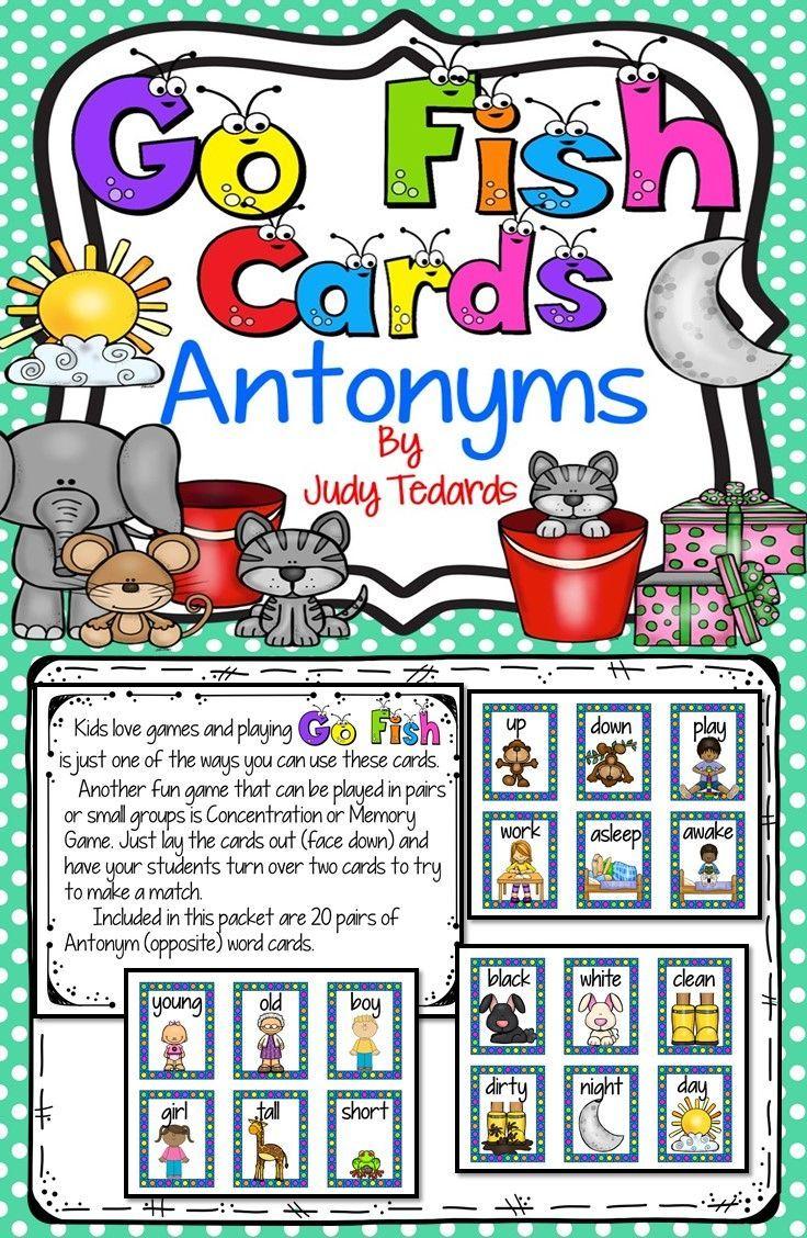 Go Fish Cards (Antonyms)   Fishing cards, Fun card games ...