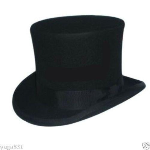 New 100 Wool Black Victorian Mad Hatter Top Hat Adult Sz 5557