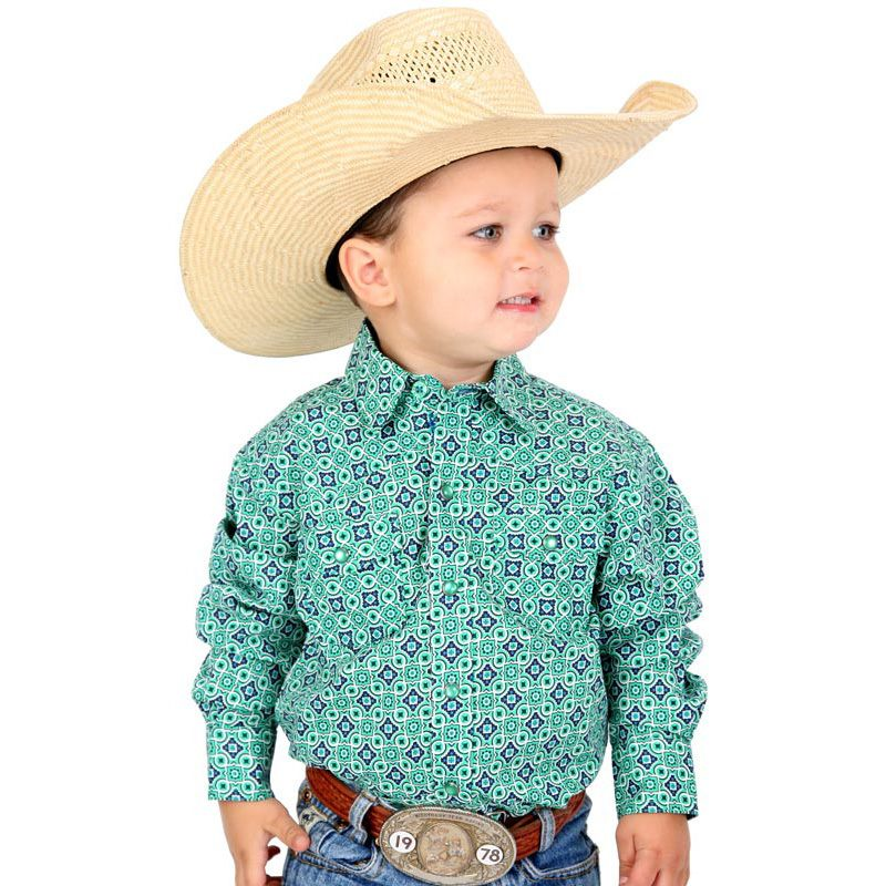 Cinch Blue Western Boys Print Snap Shirt Little boy