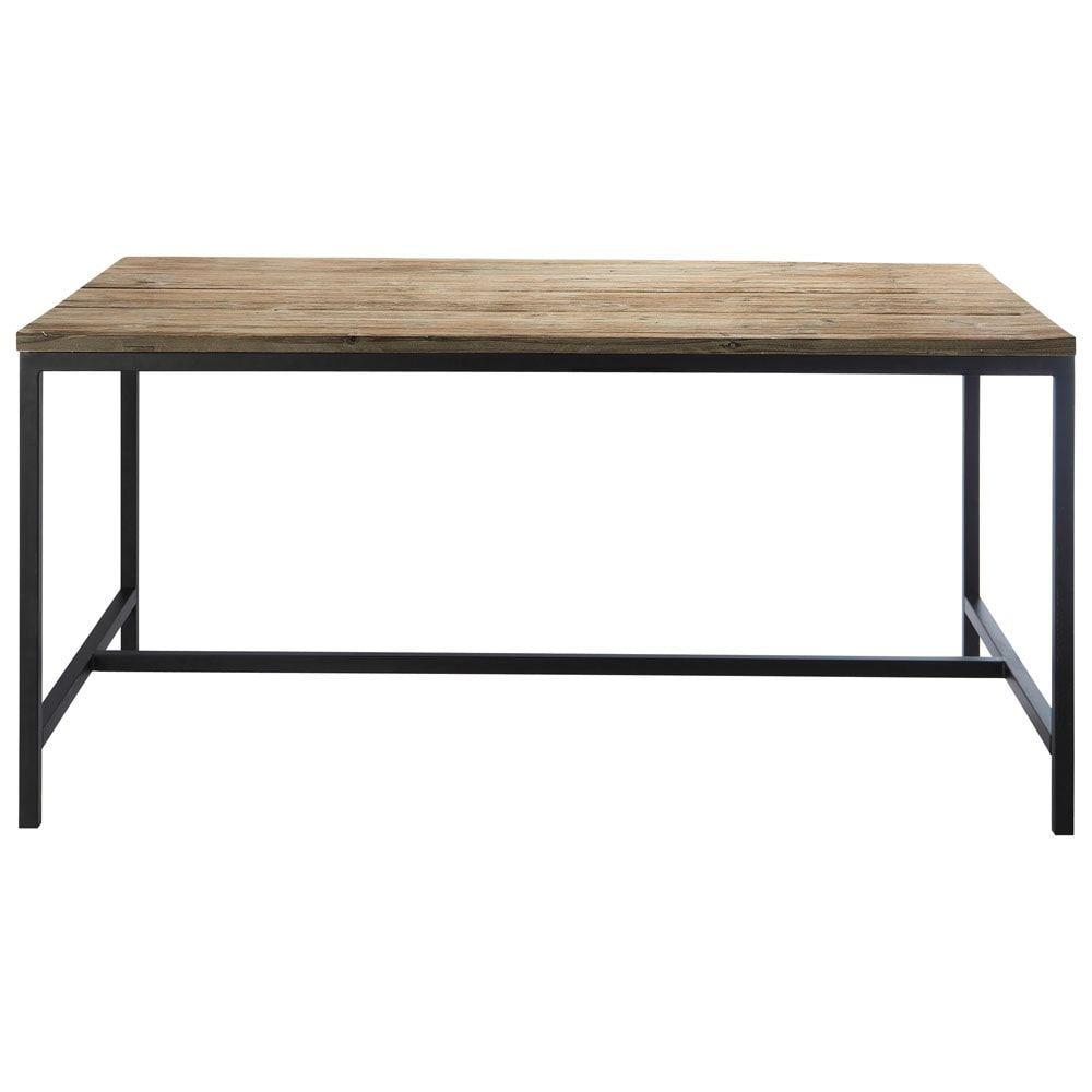Table De Salle A Manger Indus En Bois Massif Et Metal L 150 Cm