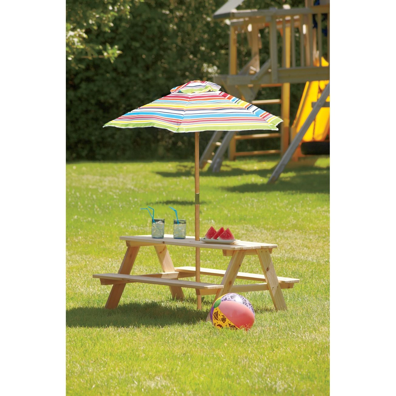 Living Accents Kids Picnic Table With Beach Umbrella Picnic