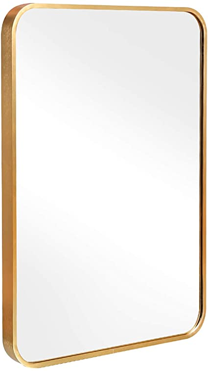 Amazonsmile Tinytimes 19 7 27 6 Large Rectangular Mirror Brushed Al Alloy Metal Frame Rounded Corner W Rectangular Mirror Rectangular Wall Mounted Mirror