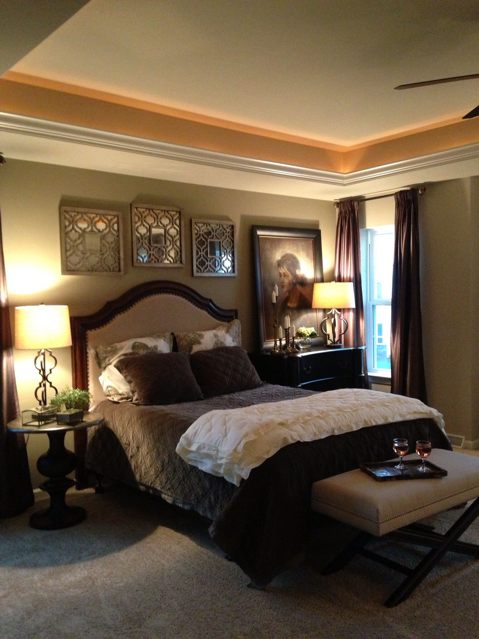 Soft lighting in a tray ceiling Home, Home decor, Wall color
