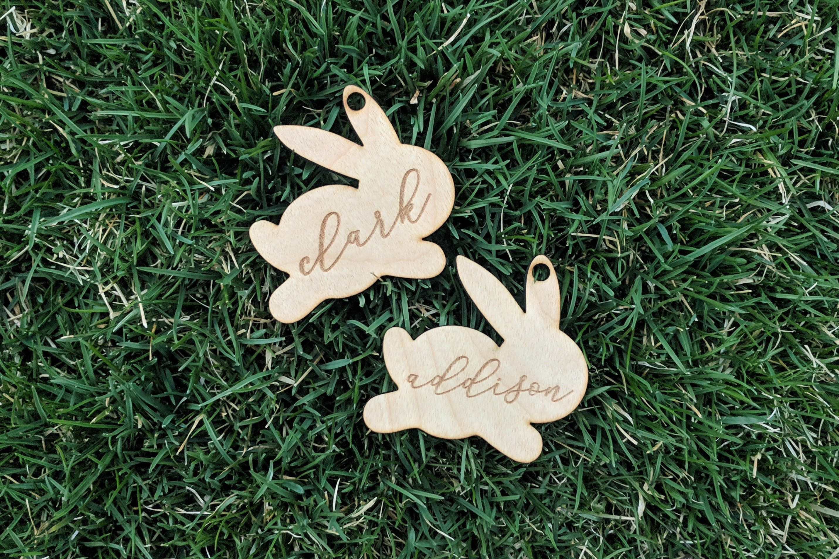 any name laser cut craft tags heart centre Easter personalised mdf bunnies