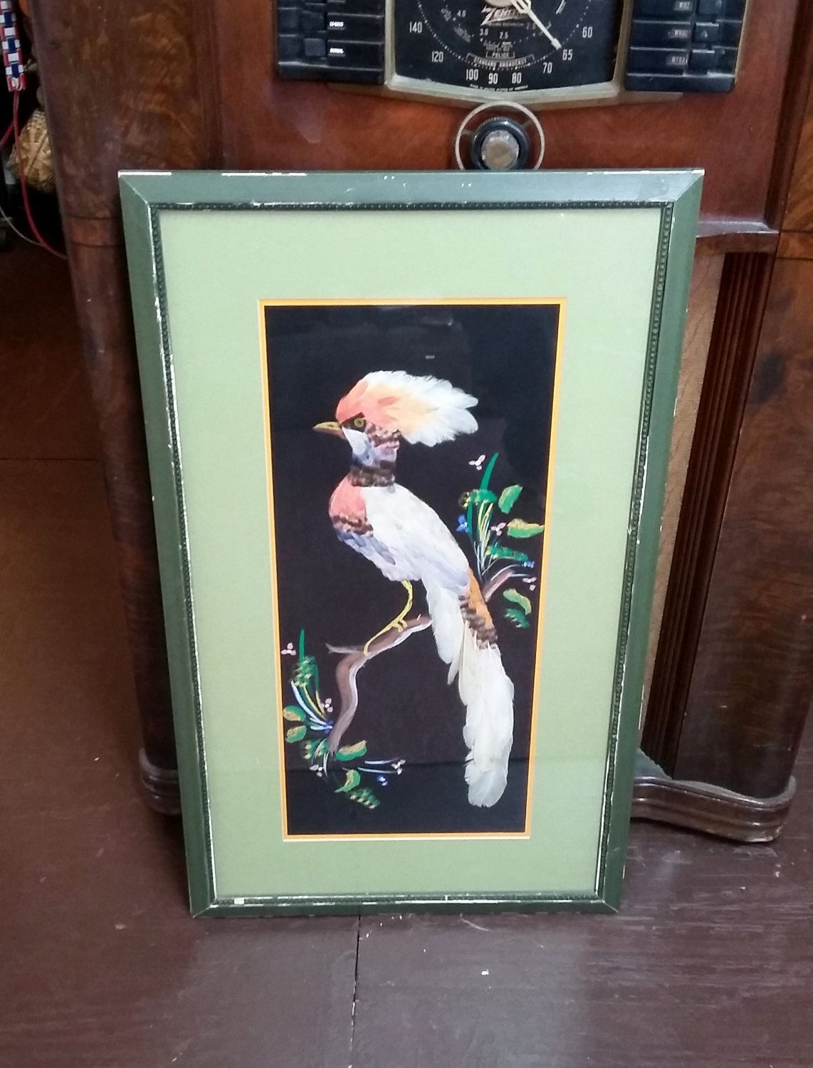 Vintage Framed Art Bird Feathercraft Wall Hanging w Real Feathers ...