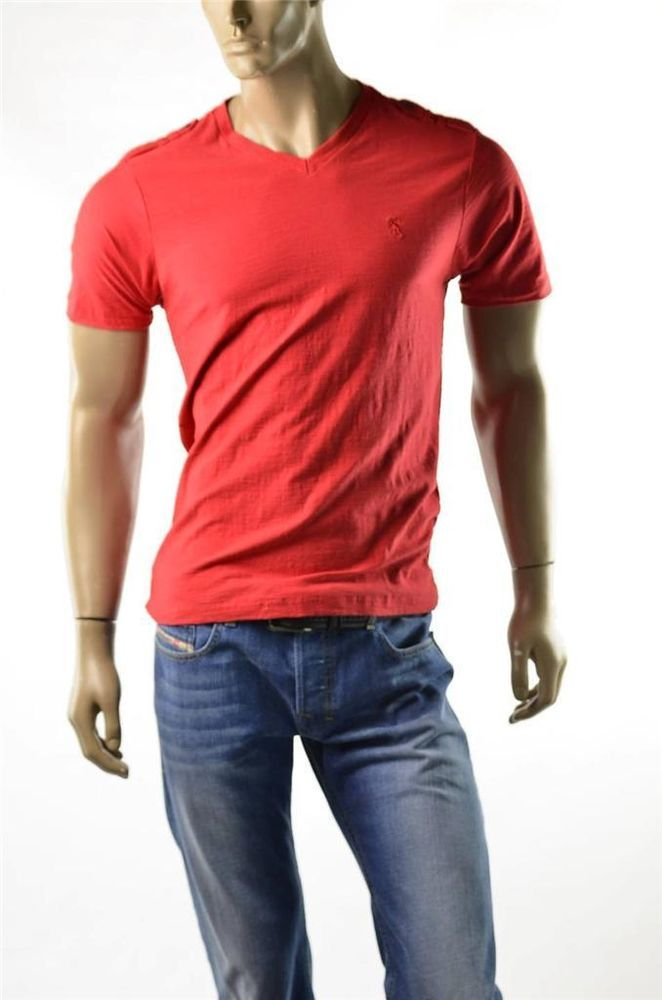 English Laundry T Shirt Lions Crest Mens Red S S T Shirts V Neck