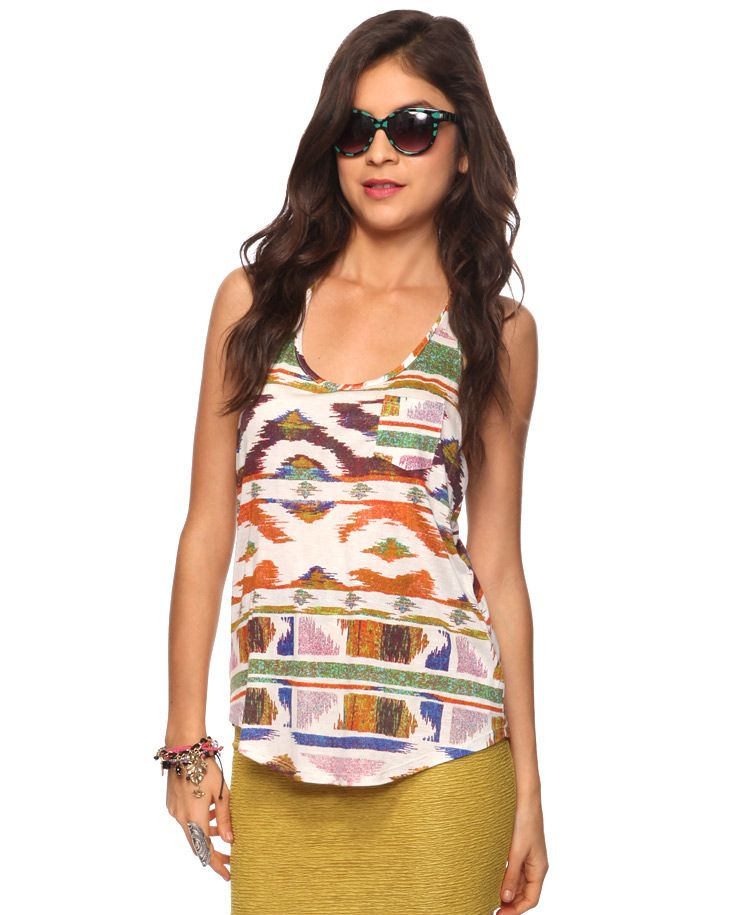 Twisted Ikat Print Tank (With Images)