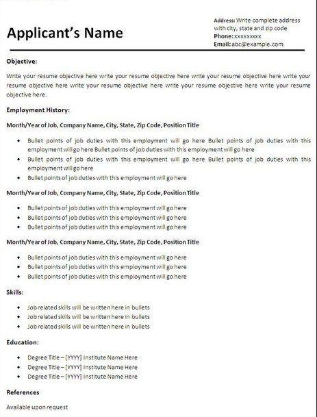 Basic Resume Templates Free Download