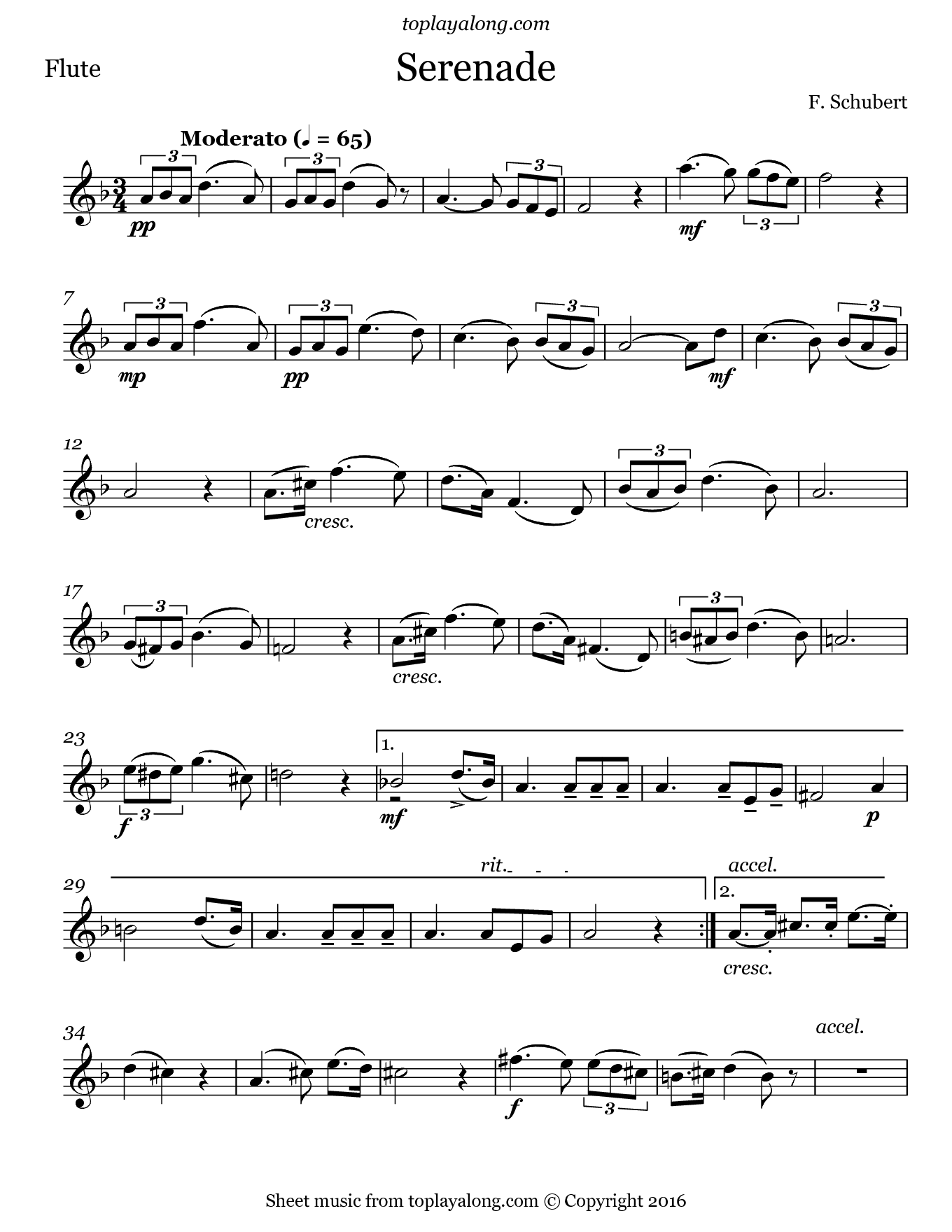 Top Serenade by Schubert. Free sheet music for flute. Visit  TN97