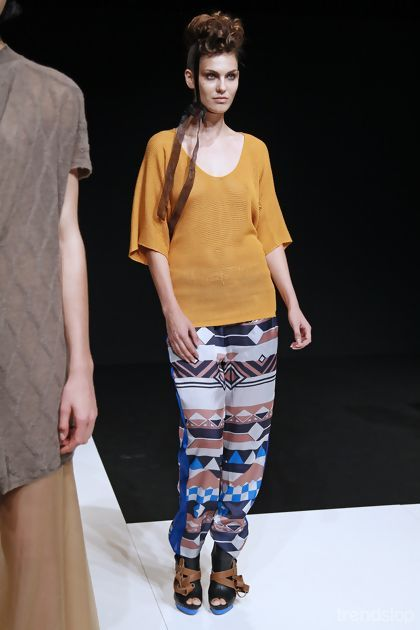 Yujia Zhai Petrow aztec print trousers